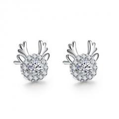 Fashion Elk Series Crystal Stone Stud Earring Jewelry Wholesale Elk Cricle