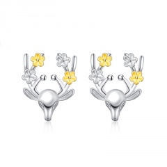 Fashion Elk Series Crystal Stone Stud Earring Jewelry Wholesale Elk Flower