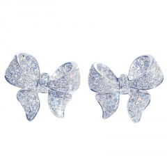 Silver Fashion Copper CZ Stone Heart Stud Earring Wholesale Butterfly