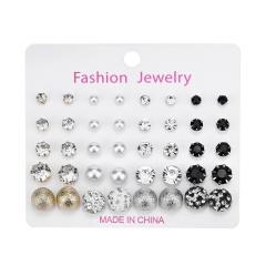 20 pairs/Set  Rhinestone Pearl Combination Card Earring Set A