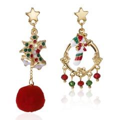 Christmas Bell Ctar Crystal Hair Ball Long Stud Earrings Bell