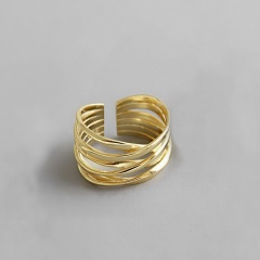 Gold Silver Multilayer Open Adjustable Rings for Women Jewelry Gold