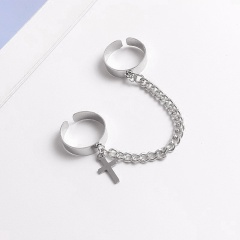 Fashion Cross Two-finger Conjoined Chain Open Rings A