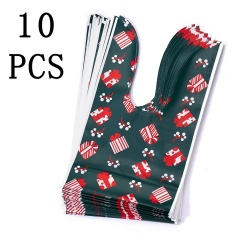 10 pcs Christmas Pattern Apple Cookies Candy Plastic Bag Gift