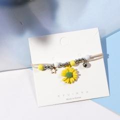 Ceramic Beaded Star Pendant Multilayer Daisy Flower Bracelet Yellow