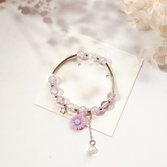Beaded Daisy Flower Star Pearl Pendant Single Circle Bracelet Pink