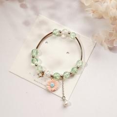 Beaded Daisy Flower Star Pearl Pendant Single Circle Bracelet Orange
