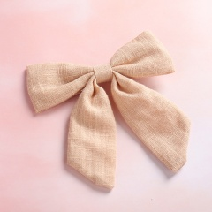 Pure Color Simple Dovetail Bow Girl's Hairpin Khaki