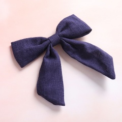 Pure Color Simple Dovetail Bow Girl's Hairpin Navy Blue