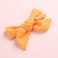 Fashion Pure Color Simple Girl's Bow Hairpin Headwear Wholesale Autumn yellow