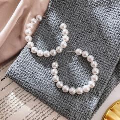 Fashion Pearl C Shape Hoop Dangle Earring Jewelry Wholesale A