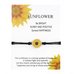 Sunflower 2 Braided Adjustable Couple Paper Card Bracelet Set 1 pc