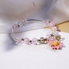 Beaded Daisy Flower Crystal Single Circle Elastic Bracelet Wholesale Pink