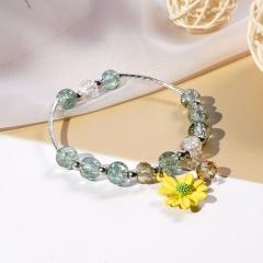 Beaded Daisy Flower Crystal Single Circle Elastic Bracelet Wholesale Yellow