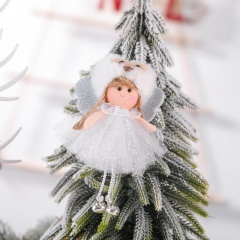 Mesh Sequins Bells Angel Pendant Christmas Tree Decoration White