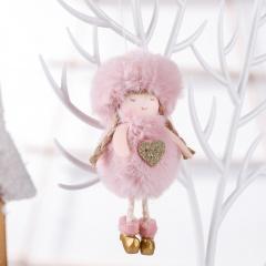 Plush Angel Christmas Decoration Pendant Christmas Tree Decoration Pink-Heart