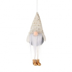 Faceless Santa Claus Doll Christmas Tree Decoration Beige