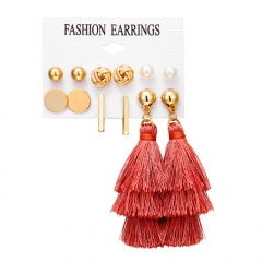6 pairs/set Bohemia Gold Style Dangle Hoop Earring Set Wholesale Red
