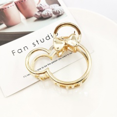 European Fashion Simple Golden Silver Metal Grabbing Clip Hairpin Mickey-gold