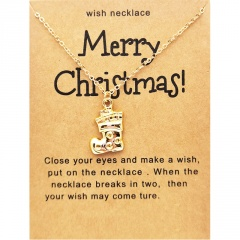 Santa Claus Christmas Series Gold Wishing Paper Card Necklace Sock