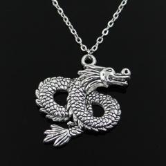 Silver Dargon Pendant Short Chain Charm Necklace Jewelry Dargon