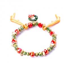 Christmas Series Santa Snowman Candy Beads Bracelet Wreath