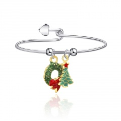 Silver Christmas Adjustable Santa Candy Dangle Bracelet Wreath and Tree