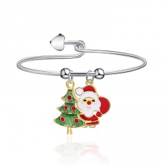 Silver Christmas Adjustable Santa Candy Dangle Bracelet Tree and Santa Claus
