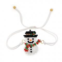 White Handmade Snowman Adjustable Bracelet Christmas Series Jewelry A