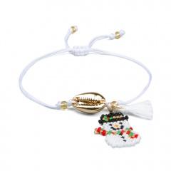 White Handmade Snowman Adjustable Bracelet Christmas Series Jewelry B
