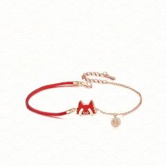 Christmas Series Red Rope Elk Gold Chain Bracelet Wholesale B
