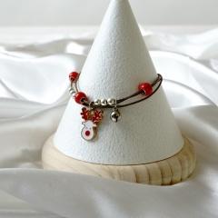 Christmas Jewelry Adjustable Multilayer Rope Dangle Bracelet White Elk