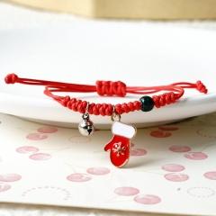 Christmas Jewlery Red Rope Handmade Adjustable Bracelets Gloves