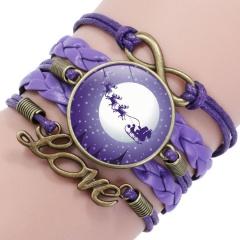 Multilayer Santa Claus Elk Snowman Bracelet Christmas Jewelry Wholesale Purple
