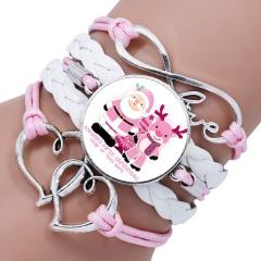 Multilayer Santa Claus Elk Snowman Bracelet Christmas Jewelry Wholesale White & Pink