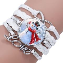 Multilayer Santa Claus Elk Snowman Bracelet Christmas Jewelry Wholesale White