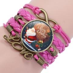 Multilayer Santa Claus Elk Snowman Bracelet Christmas Jewelry Wholesale Rose Pink