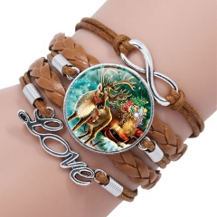 Multilayer Santa Claus Elk Snowman Bracelet Christmas Jewelry Wholesale Brown-A