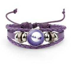 Multilayer Colorful Leather Christmas Bracelets Wholesale Purple