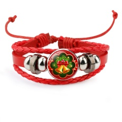 Multilayer Colorful Leather Christmas Bracelets Wholesale Red