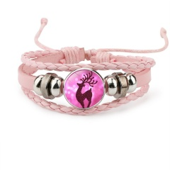 Multilayer Colorful Leather Christmas Bracelets Wholesale Pink
