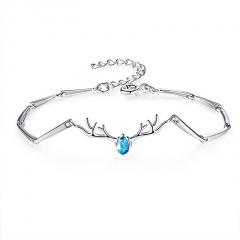 Silver Brass with CZ Stone Chain Bracelet for Women Jewelry Blue