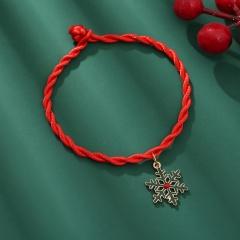 Red Rope Christmas Series Dangle Adjustable Bracelet Wholesale Snow Green