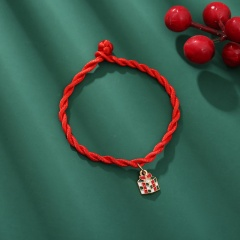 Red Rope Christmas Series Dangle Adjustable Bracelet Wholesale Gift