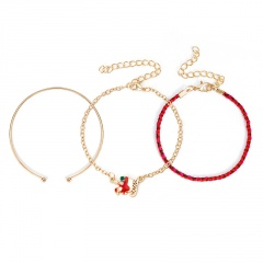 3 Pieces/Set Red Rope Gold Chain Bracelet Set Wholesale Sled