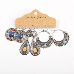 3 Pairs/Set Alloy Colorful Vintage Ethnic Earring Set Jewelry F