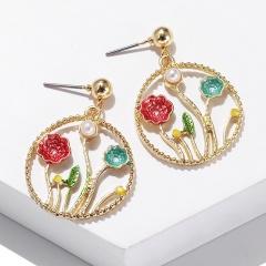Fashion Gold Circle Stone Dangle Stud Earrings Jewelry Wholesale F