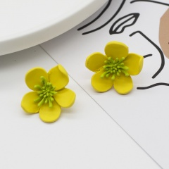 Colorful Flower Small Simple Stud Earrings Wholesale Yellow