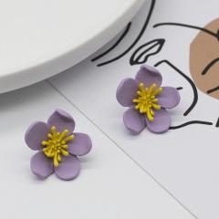 Colorful Flower Small Simple Stud Earrings Wholesale Purple