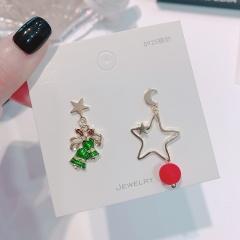 Full Diamond Christmas Elk Snowflake Stud Earrings Jewelry Bell Star